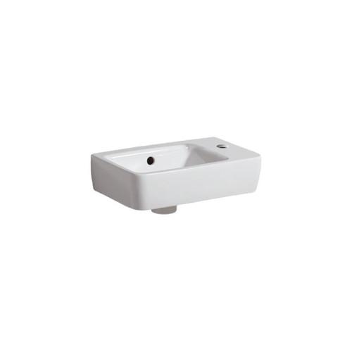 Geberit Renova Compact Waschtisch - Hahnloch rechts,  Überlauf, weiß