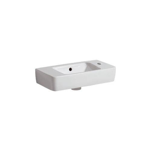 Geberit Renova Compact Waschtisch - Hahnloch, Überlauf, Ablagefläche, weiß
