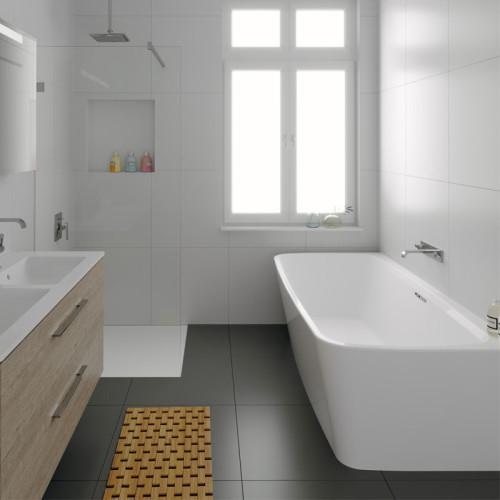 Riho Freistehende Badewanne Adore Back2Wall - Acryl - 180 x 86 cm, Farbe: Weiß