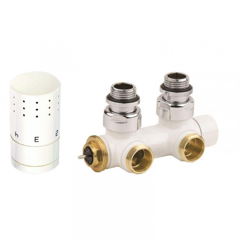 Corpotherma Zubehör Anschlussarmaturen Design-Ventilarmatur Eckform - weiß