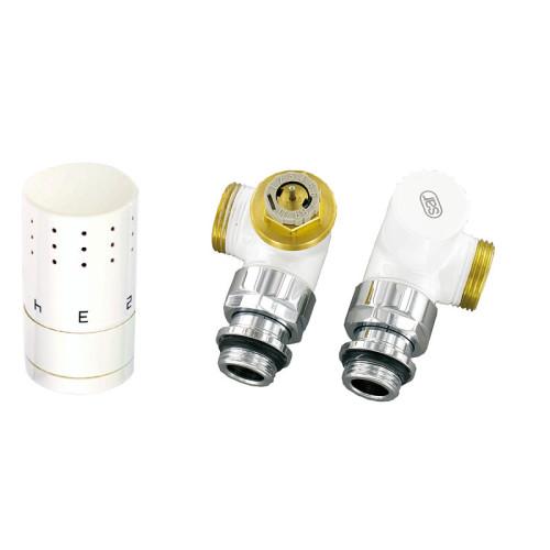 Corpotherma Anschlussarmaturen Thermostatventil Winkeleckform - weiß