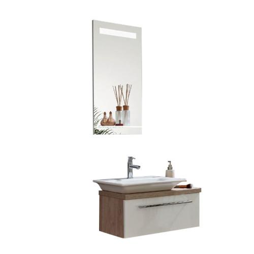 Puris For Guests Badmöbel Set 10 mit Keramik WT Flächenspiegel