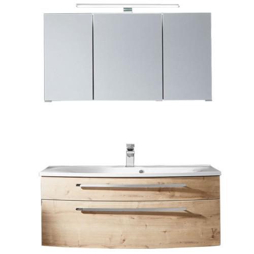 Puris Speed Badmöbel Set - 102 cm - Spiegelschrank, Mineralguss oder Keramik WT