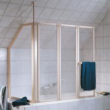 HSK Prima Badewannenaufsatz - 3 pendelbare Elemente mit Seitenwand - inkl. Handtuchhalter aus Kunstglas- B: 1288 H: 1400 T: -