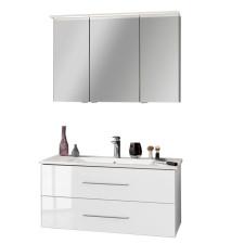 Fackelmann B.perfekt Badmöbel Set 8 - 103 cm, Spiegelschrank, Keramik-Waschtisch, Waschtischunterschrank - Weiß- B: 1030 H: - T: 480