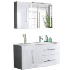 Fackelmann Lugano Badmöbel Set 4 - 115 cm, Spiegelschrank, Gussbecken Ablage links, Waschtischunterschrank, Unterschrank- B: 1150 H: - T: 450