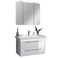 Fackelmann Milano Badmöbel Set 2 - 90 cm, Spiegelschrank, Keramik-Waschtisch, Waschtischunterschrank - Weiß- B: 900 H: - T: 540