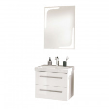 Lanzet K1 Badmöbel Set - 61 cm, Flächenspiegel, Keramik-WT und WTU