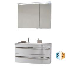 Marlin Bad 3160 - Motion Badmöbel Set 7R - 90 cm, Spiegelschrank wählbar,  Mineralmarmor-Waschtisch, Unterschrank, 2 Auszüge