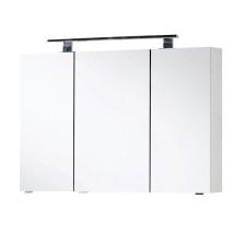 Marlin Bad 3400 Spiegelschrank - 100 cm, 3 Spiegeltüren, 6 Glaseinlegeböden, LED-Aufbauleuchte- B: 1000 H: 682 T: 134