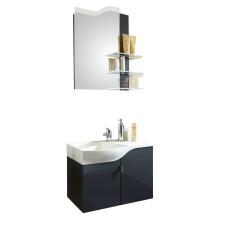 Marlin Gästebad 3010.5 Badmöbel Set - 60 cm mit Mineralmarmor-Waschtisch, Spiegelpaneel und Waschtischunterschrank- B: 604 H: 2000 T: 330