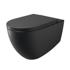 badshop.de Design WC-Set - Tiefspüler, spülrandlos, schwarz matt, WC-Sitz mit Absenkautomatik und Take off Funktion- B: 365 H: 348 T: 530