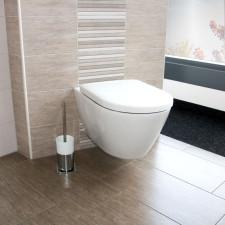 badshop.de Premium Design WC-Set - Tiefspüler, spülrandlos, Keramik-Veredelung, weiß, WC-Sitz mit Absenkautomatik- B: 380 H: 350 T: 560
