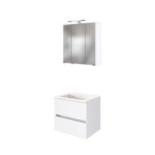 Held Möbel Baabe Badmöbel Set 1 60 Cm 3d Spiegelschrank Led Aufbauleuchte Mineralgussbecken 2 Auszüge Matt Weiß