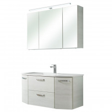 Pelipal Quickset 936 - Amora Badmöbel Set - 112 cm, Spiegelschrank mit LED-Aufsatzleuchte, Mineralmarmor-Waschtisch, Unterschrank- B: 1120 H: - T: 480