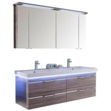 Pelipal Balto Badmöbel Set 3-3 - 150 cm, Spiegelschrank, Doppel-WT, Fronten mit chromfarbener oder schwarzer Einlage- B: 1500 H: - T: 508