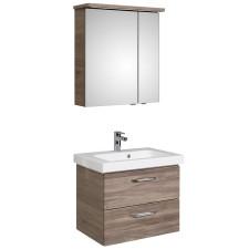 Pelipal Balto Badmöbel Set 4-3-1 - 66 cm, Spiegelschrank, Mineralmarmor-Waschtisch, Unterschrank mit 2 Auszügen- B: 660 H: - T: 462