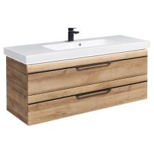 Pelipal Balto Waschtisch mit Unterschrank Set 4 - 123 cm, Mineralmarmor-Waschtisch, Fronten mit chromfarbener oder schwarzer Einlage- B: 1230 H: 556 T: 493