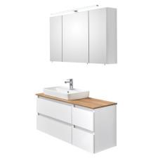 Pelipal Quickset 360 - Balu Badmöbel Set 2 - 113 cm, Spiegelschrank, Keramik-WT, Waschtischplatte, Waschtischunterschrank 2 Auszüge- B: 1130 H: - T: 500