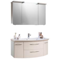 Pelipal Cassca Badmöbel Set 2-1 - 129 cm, Spiegelschrank, Glas- o. Mineralmarmor-Waschtisch, Unterschrank- B: 1290 H: - T: 505