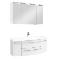 Pelipal Cassca Badmöbel Set 2-5 - 129 cm, Spiegelschrank, Glas- o. Mineralmarmor-Waschtisch, Unterschrank- B: 1290 H: - T: 505