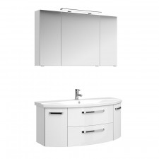 Pelipal Fokus 4010 Badmöbel Set 1 - 120 cm mit Spiegelschrank, Keramikwaschtisch, Unterschrank mit 2 Drehtüren, 2 Auszügen- B: 1205 H: - T: 480