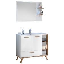 Pelipal Quickset 923 - Noventa Badmöbel Set 3 - 101 cm, Flächenspiegel mit seitlicher Ablage, Mineralmarmor-Waschtisch, Unterschrank- B: 1010 H: - T: 460