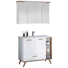 Pelipal Quickset 923 - Noventa Badmöbel Set 4 - 115 cm, Spiegelschrank mit LED-Beleuchtung, Mineralmarmor-Waschtisch, Unterschrank- B: 1150 H: - T: 460