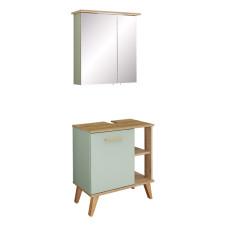 Pelipal Quickset 963 - Salvie Badmöbel Set 2 - 61 cm, Spiegelschrank mit LED-Kranzbeleuchtung, Waschbeckenunterschrank mit 1 Drehtür- B: 605 H: - T: 330