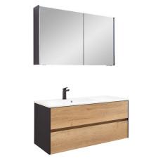 Pelipal Serie 6010 Badmöbel Set 2-5 - 114 cm, Spiegelschrank, Mineralmarmor- oder Krion-Waschtisch, Variante links- B: 1140 H: - T: 500