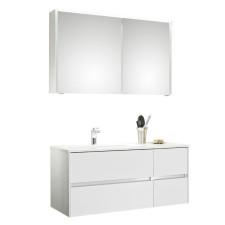 Pelipal Serie 6010 Badmöbel Set 2-4 - 114 cm, Spiegelschrank, Mineralmarmor- oder Krion-Waschtisch, Variante links- B: 1140 H: - T: 500