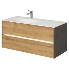 Pelipal Serie 6010 Waschtisch mit Unterschrank Set 12 - 113 cm, Mineralmarmor- oder Krion-Waschtisch, Unterschrank mit 2 Auszügen- B: 1130 H: 532 T: 500