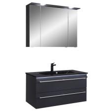Pelipal Serie 6025 Badmöbel Set 2-1 - 97 cm, Spiegelschrank mit LED-Kranzbeleuchtung, Mineralmarmor-Waschtisch, Unterschr.- B: 970 H: - T: 480