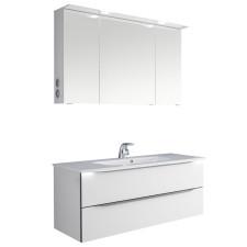 Pelipal Serie 6025 Badmöbel Set 3-1 - 117 cm, Spiegelschrank mit LED-Kranzbeleuchtung, Mineralmarmor-Waschtisch, Unterschr- B: 1170 H: - T: 480