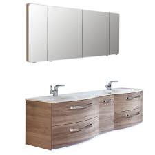 Pelipal Serie 7025 Badmöbel Set 4-2-1 - 173 cm, Spiegelschrank, Mineralmarmor-Doppelwaschtisch und Unterschrank wählbar- B: 1730 H: - T: 513
