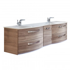 Pelipal Serie 7025 Waschtisch mit Unterschrank Set 4-1 - 173 cm, Mineralmarmor-Doppelwaschtisch und Waschtischunterschrank wählbar- B: 1730 H: 521 T: 513
