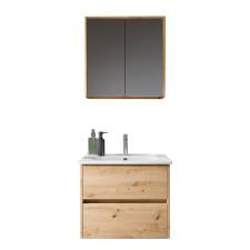 Riho Porto Square Badmöbel Set 2 - 61 cm, Spiegelschrank 2 Türen, Keramik-Waschtisch, Waschtischunterschrank- B: 610 H: - T: 460