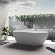 Riho Solid Surface Oval-Badewanne Bilbao - 170 x 80 cm, freistehend, 275 Liter, Aussenfarbe optional wählbar- B: 1700 H: 555 T: 800