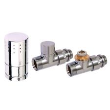Corpotherma Anschlussarmaturen Design-Thermostatventilset Durchgangsform - chrom