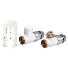 Corpotherma Anschlussarmaturen Design-Thermostatventilset Durchgangsform - weiß