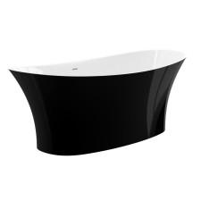 Treos Armaturen Freistehende Badewanne Mineralguss Badewanne schwarz/weiß Nicolo