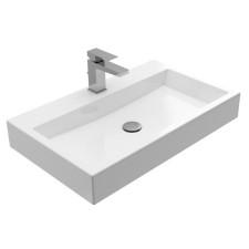 Treos Waschbecken und Wannen Wandwaschtisch - 70 cm, mit Hahnloch, ohne Überlauf, weiß glänzend- B: 700 H: 103 T: 420