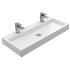 Treos Waschbecken und Wannen Wandwaschtisch / Doppelwaschtisch - 100 cm, mit 2 Hahnlöchern, ohne Überlauf, weiß glänzend- B: 1000 H: 103 T: 420