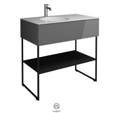 Burgbad Coco Waschtisch mit Unterschrank Set 2 - 91 cm, Mineralguss-Waschtisch, 1 Auszug mit Inneneinteilung, 1 Fachboden- B: 906 H: 870 T: 505