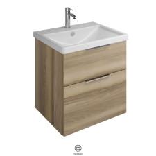 Burgbad Eqio Waschtisch mit Unterschrank Set 1 - 63 cm, Waschtisch aus Keramik, Mineralguss oder Glas, 1 Schublade, 1 Auszug- B: 630 H: 645 T: 490