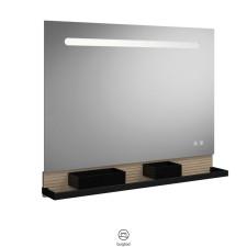 Burgbad Fiumo Badspiegel / Leuchtspiegel - 100 cm, LED-Beleuchtung, Spiegelheizung, Wandablage, 2 USB-Ports- B: 1000 H: 817 T: 150