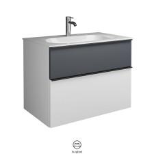 Burgbad Fiumo Waschtisch mit Unterschrank Set 2 - 82 cm, Mineralguss-Waschtisch, 1 Schublade mit oder ohne Plissée möglich, 1 Auszug- B: 820 H: 610 T: 490