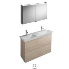Burgbad Iveo Badmöbel Set 14 - 120 cm, Spiegelschrank, Mineralguss-Doppelwaschtisch, Unterschrank- B: 1200 H: - T: 492