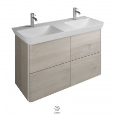Burgbad Iveo Waschtisch mit Unterschrank Set 13 - 120 cm, Mineralguss-Doppelwaschtisch, 2 Schubladen, 2 Auszügen- B: 1200 H: 721 T: 492