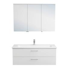 Burgbad Trace Badmöbel Set - 123 cm, Spiegelschrank, Keramik-Waschtisch, Unterschrank - Weiß Hochglanz- B: 1230 H: - T: 495